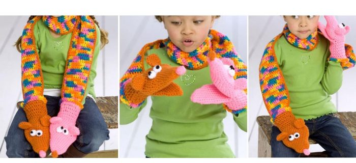 fun crocheted puppy scarf | thecrochetspace.com