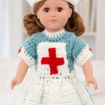 18'' Crochet Nursing Doll Uniform. Long Dress With Long Apron And Hat. Front Image || thecrochetspace.com