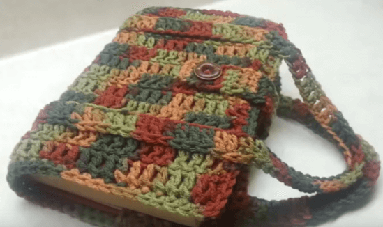 Crochet Book Cover Tutorial : Crochet book carrier free video tutorial