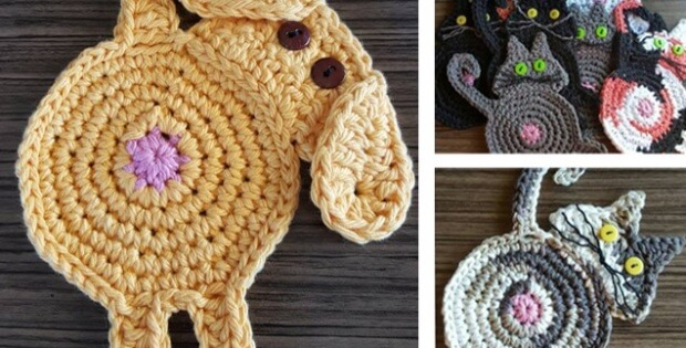 Peeking Cat Or Dog Butt Coasters Free Crochet Patterns