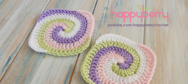 Crochet Spiral Granny Square Free Pattern Video Tutorial