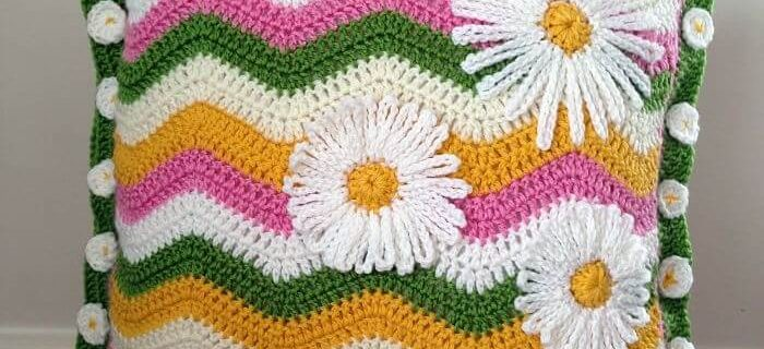 Crochet Summer Ripple Cushion | the crochet space