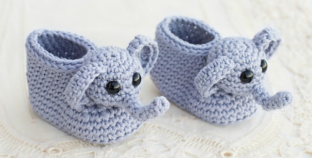 Crochet Elephant Booties [FREE Pattern]
