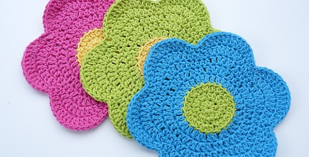 Crochet Flower Power Dishcloth Free Crochet Pattern