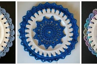 crochet embellished plates   the crochet space