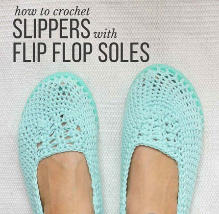 crochet slippers with flip flop soles | the crochet space