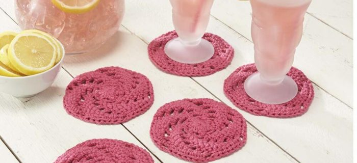 crochet pink grapefruit coasters | the crochet space