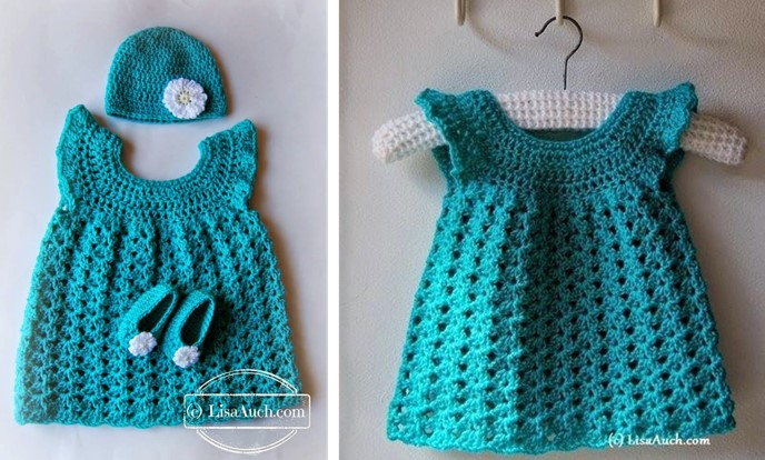 crocheted baby dress with hat and booties | the crochet space