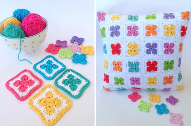 Colorful Crochet Flower Afghan Blocks Free Pattern