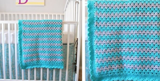Crocheted Granny Stripe Baby Blanket Free Pattern Not Available At