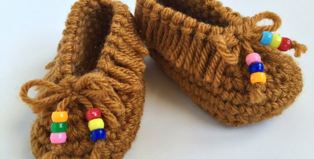 Crochet Baby Moccasins With Beads Free Crochet Pattern