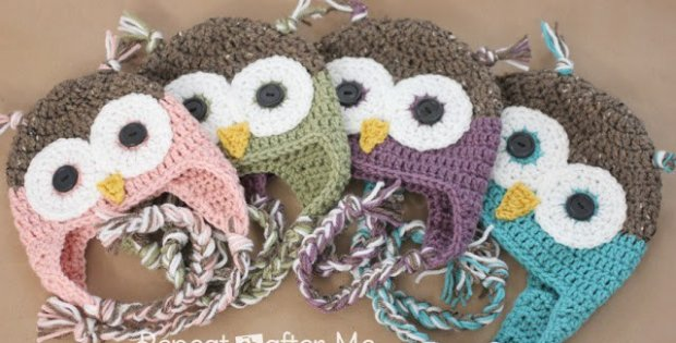 crochet owl hat with flaps   the crochet space
