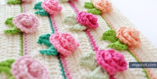 crocheted rosebud stitch | the crochet space