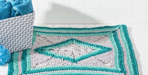Crochet Sea Glass Bath Rug Free Crochet Pattern