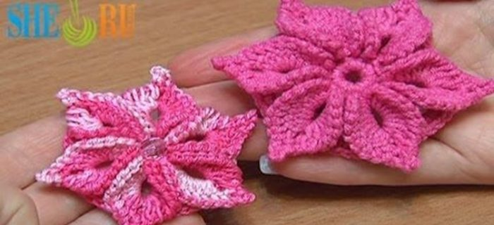 crocheted 3D flower with 6 petals | the crochet space