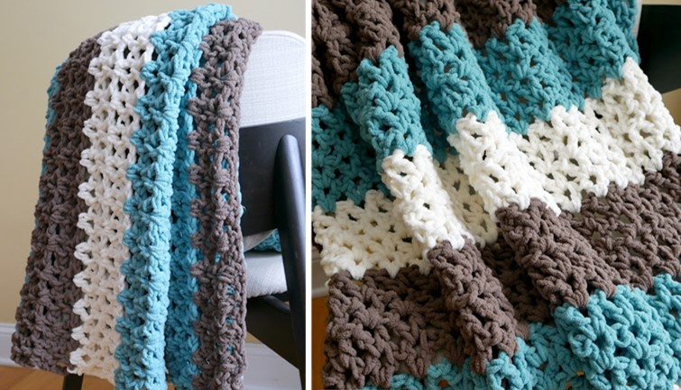 Family Room Crocheted Throw Free Crochet Pattern Video
