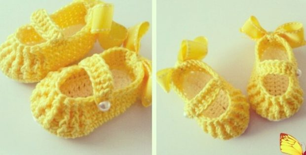 Yellow Crocheted Baby Booties | the crochet space