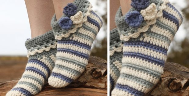 Annabelle Crocheted Striped Slippers Free Pattern