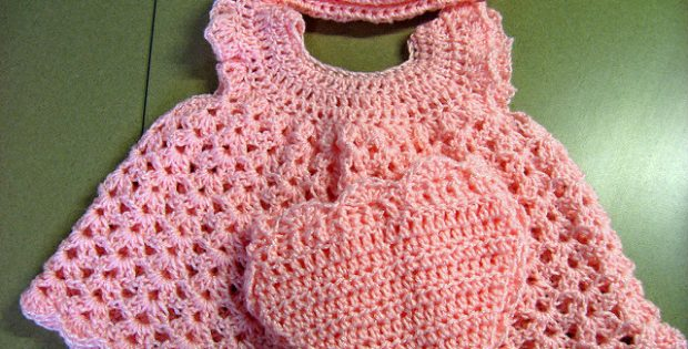 Crocheted Baby Girl Sleeper Set Free Crochet Pattern
