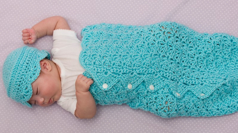 Button Up Crocheted Baby Cocoon And Hat Free Crochet Pattern
