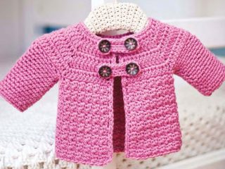 crocheted buttoned baby jacket | the crochet space