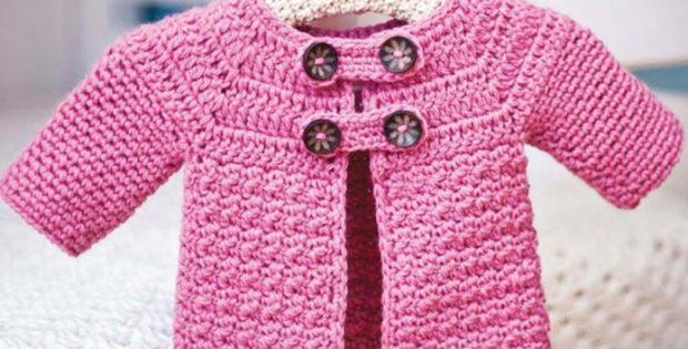 Crocheted Buttoned Baby Jacket Free Crochet Pattern
