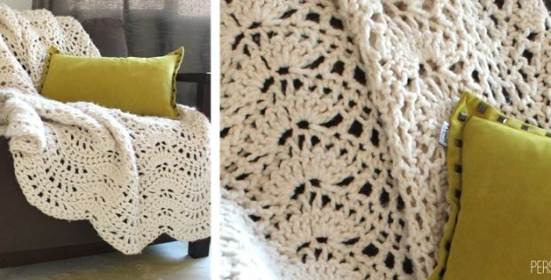 Crocheted Chunky Lace Afghan Free Crochet Pattern
