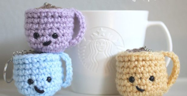 coffee mug crocheted key chains | the crochet space