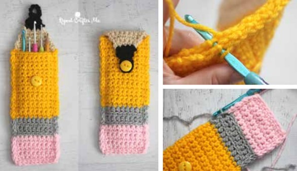 colorful crocheted pencil pouch | the crochet space