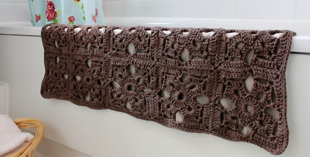 Crocheted Granny Bath Mat Free Crochet Pattern
