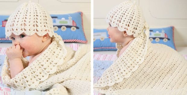 fan crocheted baby blanket | the crochet space