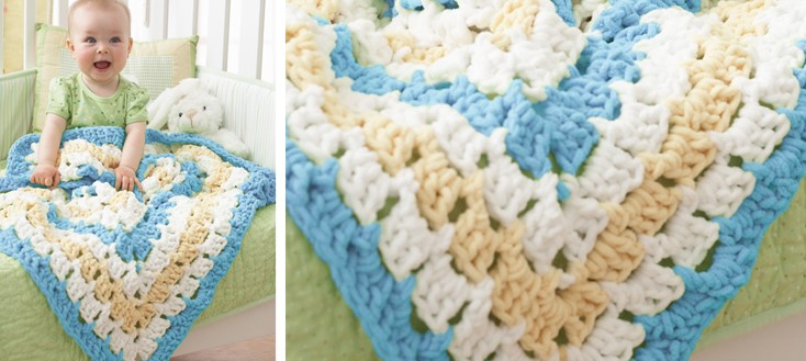 Giant Crocheted Granny Square Baby Blanket Free Pattern Video