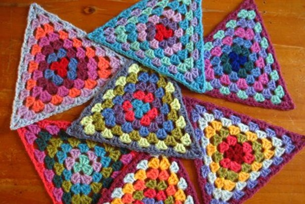 crocheted granny bunting triangles   the crochet space
