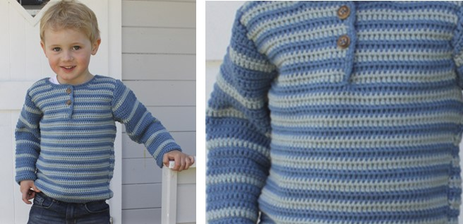 little Oliver crocheted striped sweater | the crochet space