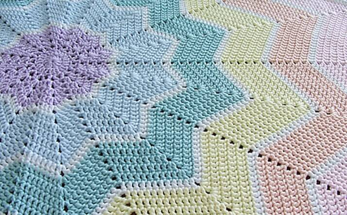 rainbow ripple crocheted baby blanket | the crochet space