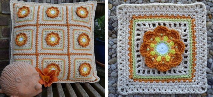 crocheted scrappy granny flower square | the crochet space