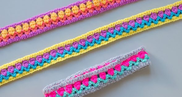 Tulip stitch crocheted headbands free crochet pattern video tutorial dt1010fo