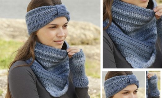 Winter Blues Crocheted Head Band And Cowl Free Pattern