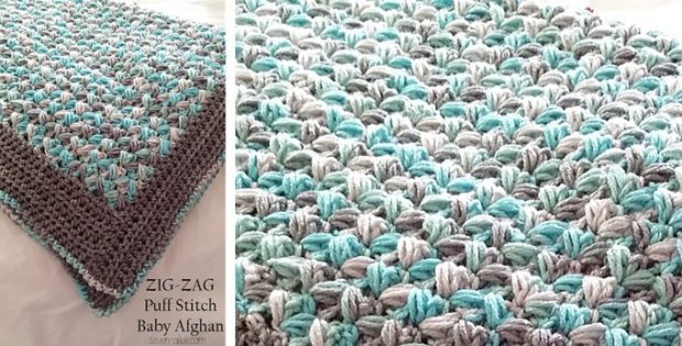 Zig zag puff stitch crocheted baby afghan free crochet pattern dt1010fo