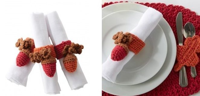 Crochet Autumnal Acorn Napkin Holders | the crochet space