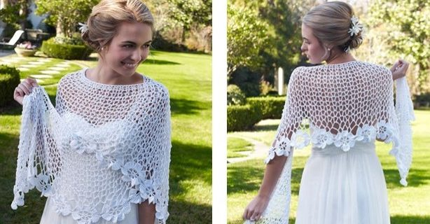 Flowery Bridal Crochet Shawl | the crochet space