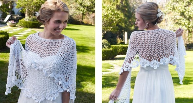 Free Crochet Patterns For Bridal Shawls : Flowery Bridal Crochet Shawl [FREE Crochet Pattern]