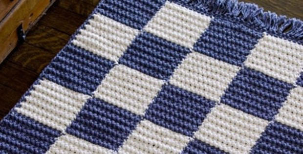 Crochet Checkerboard Rug Free Crochet Pattern