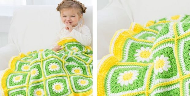 Crochet Daisy Garden Baby Blanket | the crochet space
