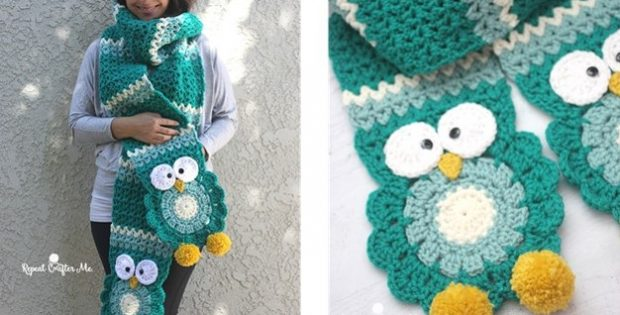 Turquoise Crochet Owl Super Scarf Free Crochet Pattern Video