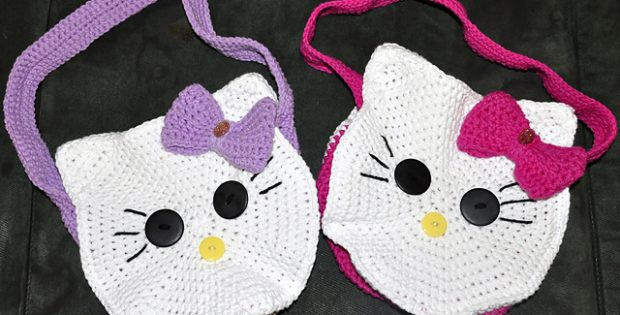 Round Kitty Crocheted Face Bag Free Crochet Pattern