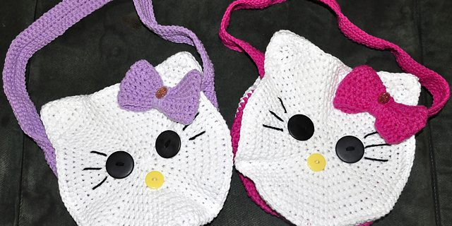 round Kitty crocheted face bag | the crochet space