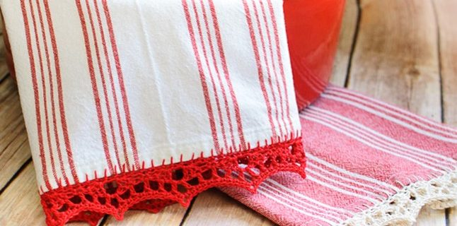 Crochet Edge Tea Towel | the crochet space