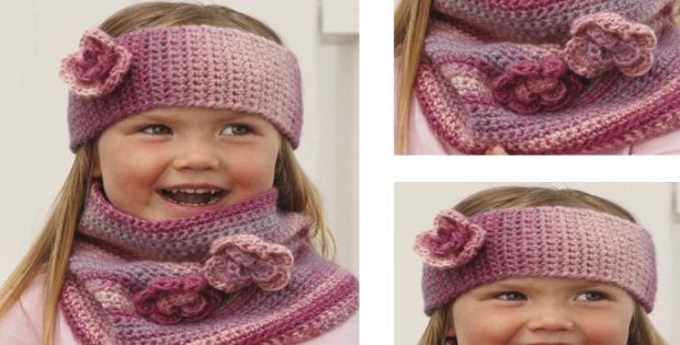 Pink Crochet Head Band Plus Neck Warmer [FREE Crochet Pattern]