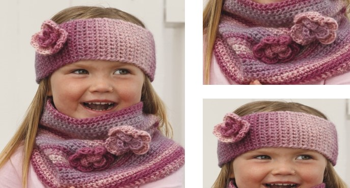 Pink Crochet Head Band Plus Neck Warmer Free Crochet Pattern
